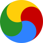 A wheel divided into four sections like yin-yang, but coloured blue at bottom, red at right, yellow at top, and green at left.